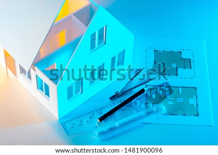Architectural studio. Work on the internal layout of the cottage. The layout of the house is used to develop a design project. Project future home. #1481900096