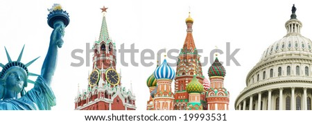 architectural symbols of the USA and Russia over white