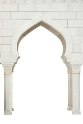 Architectural white arch on a white background. White mosque.