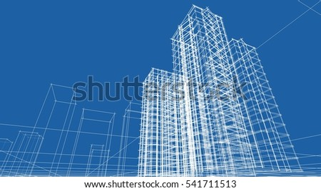 architecture abstract, 3d illustration