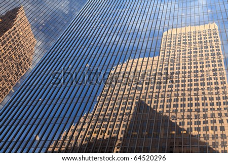 Architecture abstract of reflections of office buildings in downtown Houston.