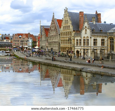 architecture along a canal in Ghent,  Belgium