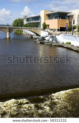 Architecture along the river in Grand Rapids, Michigan, USA. - stock photo