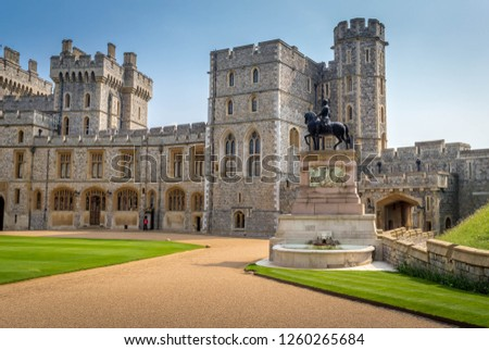 Architecture and exterior design of the oldest and largest inhabited castle in the world. Its is also the residence of the Queen at Windsor, UK #1260265684