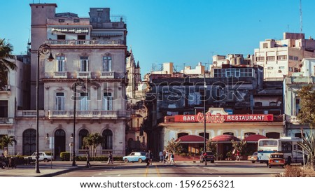 Architecture and facades of mythical buildings from Havana Cuba