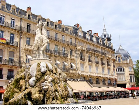 Architecture and fountain of Place de la Comedie, Montpellier, France