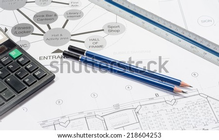 architecture and interior work plan with object work for business concepts
