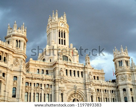 Architecture and landmark of Madrid close to Toledo, Spain - King Alfonso XII monument, El Retiro Park, Puerta del Sol square, Metropolis, Plaza Mayor, Gran Via and Alcala, Plaza de Cibeles