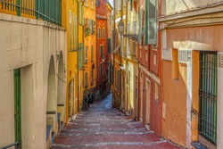Architecture and narrow street in old part of Nice, Cote d Azur, French riviera, France