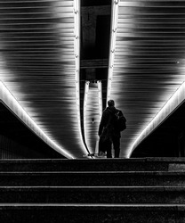 architecture and people in the underground passageway