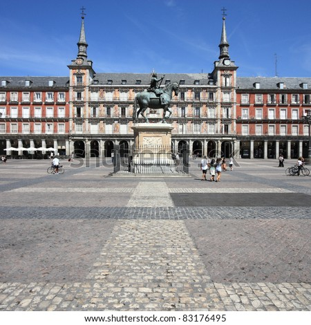 Architecture at Plaza Mayor (Main Square) in Madrid, Spain. Casa de la Panaderia.