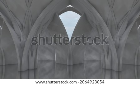 Architecture background design columns in interior 3d render