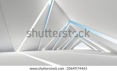 Architecture background geometric arched interior 3d render