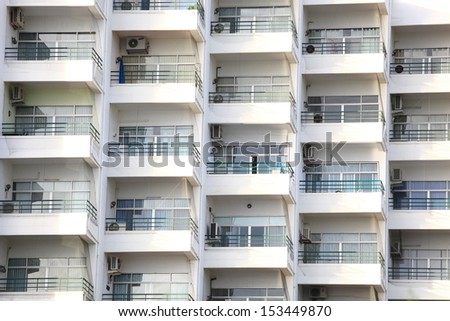 Architecture background of apartment in outside.