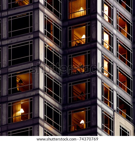 Architecture background of apartment in outside in night.