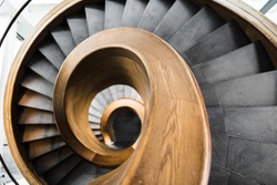 architecture background wooden spiral staircase