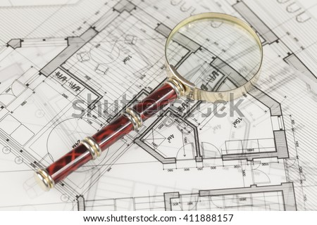 architecture blueprint -  house plans & magnifying glass #411888157