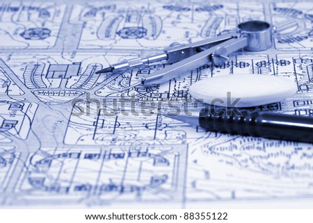 architecture blueprint & work tools - pencil, compass, eraser