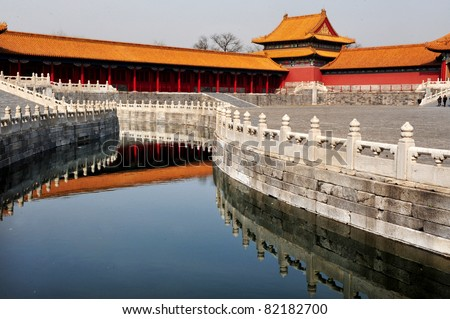Architecture building and decoration of the Forbidden City in Beijing city, China
