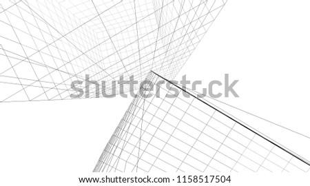 architecture building 3d illustration #1158517504