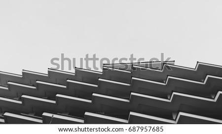 Architecture building design modern,zig zag, Black and White tone.art with line minimal. #687957685