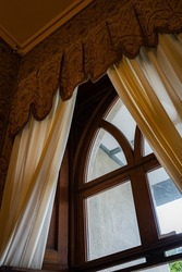 architecture castle with gorgeous beautiful interiors, windows, paintings, statues