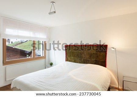 Architecture, comfortable home, bedroom with window