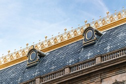 Architecture Detail closeup on National Theater roof in Prague