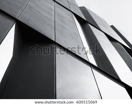 Architecture detail Facade design Modern building Black and White #600515069