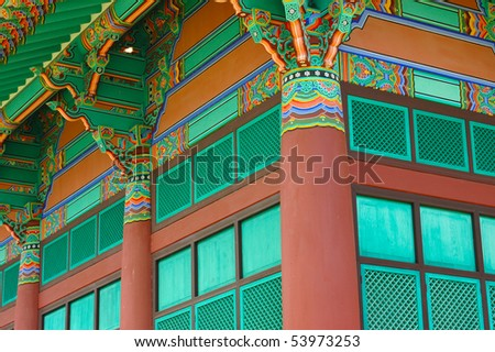 Architecture Detail of a Korean Temple Building