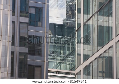 Architecture detail of Canary Wharf in London.