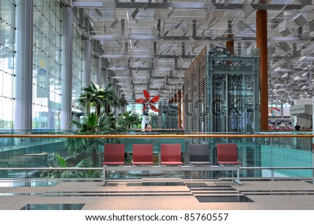 Architecture detail of Terminal 3 of Changi Airport in Singapore -
