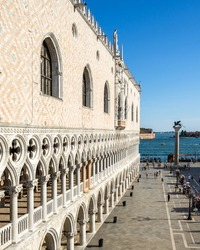 Architecture detail of the Doge's Palace (Palazzo Ducale) in St. Mark's Square, Venice, Italy