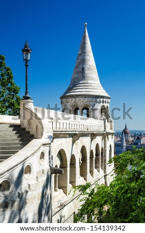 Architecture detail with terrace and conic tower of Fishermen Bastion in Budapest, built in XIXth century. Hungary