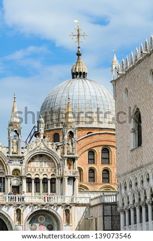 Architecture details at the Piazza San Marco in Venice, Italy