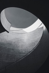 Architecture details Cement Curve Modern building design Black and white