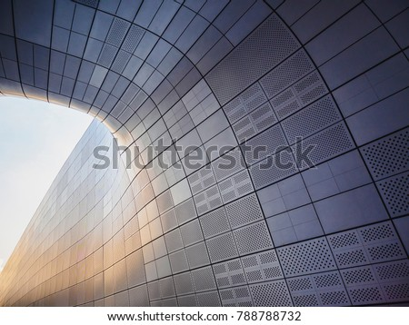Architecture details Modern building Futuristic Metal wall design Curve and space