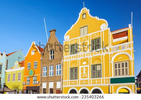 Architecture details of the colonial houses in Willemstad. Curacao, Netherlands Antilles