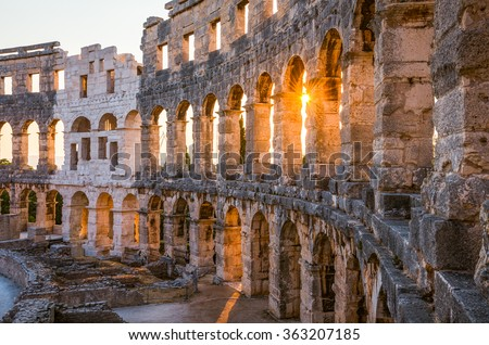 Architecture Details of the Roman Amphitheater Arena in Sunny Summer Evening. Famous Travel Destination in Pula, Croatia. #363207185
