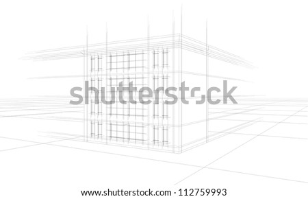architecture draft of apartment building