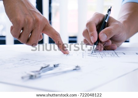 Architecture drawing on architectural project business architecture building construction and people concept