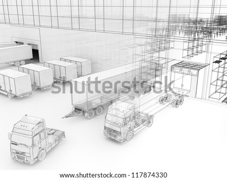 Architecture drawing style visualization of plant with offices and cargo service