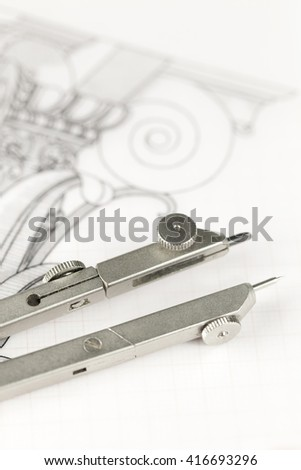 architecture drawings & compass #416693296