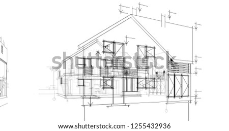 Architecture drawings 3d illustration
