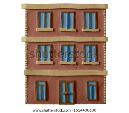 Architecture facades.Office building in a big city.Element for the construction of urban landscapes. Handmade with plasticine or clay. Isolated on white background – Illustration 3D
