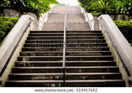 Architecture high stairway in the park, stone stairway, stairway