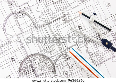 architecture home draw and drawing instruments.