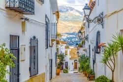 Architecture in the Mediterranean white village of Altea, Alicante province, Spain; colorful illustration