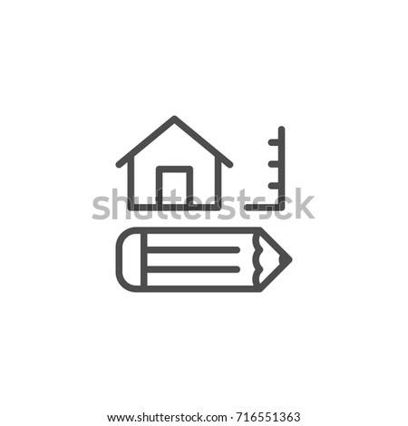 Architecture line icon isolated on white
