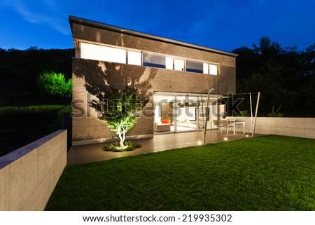 Architecture modern design, beautiful house, night scene #219935302